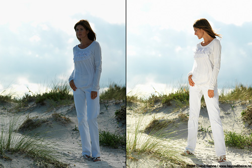 White fashion photography on the beach | Lighting For Photo