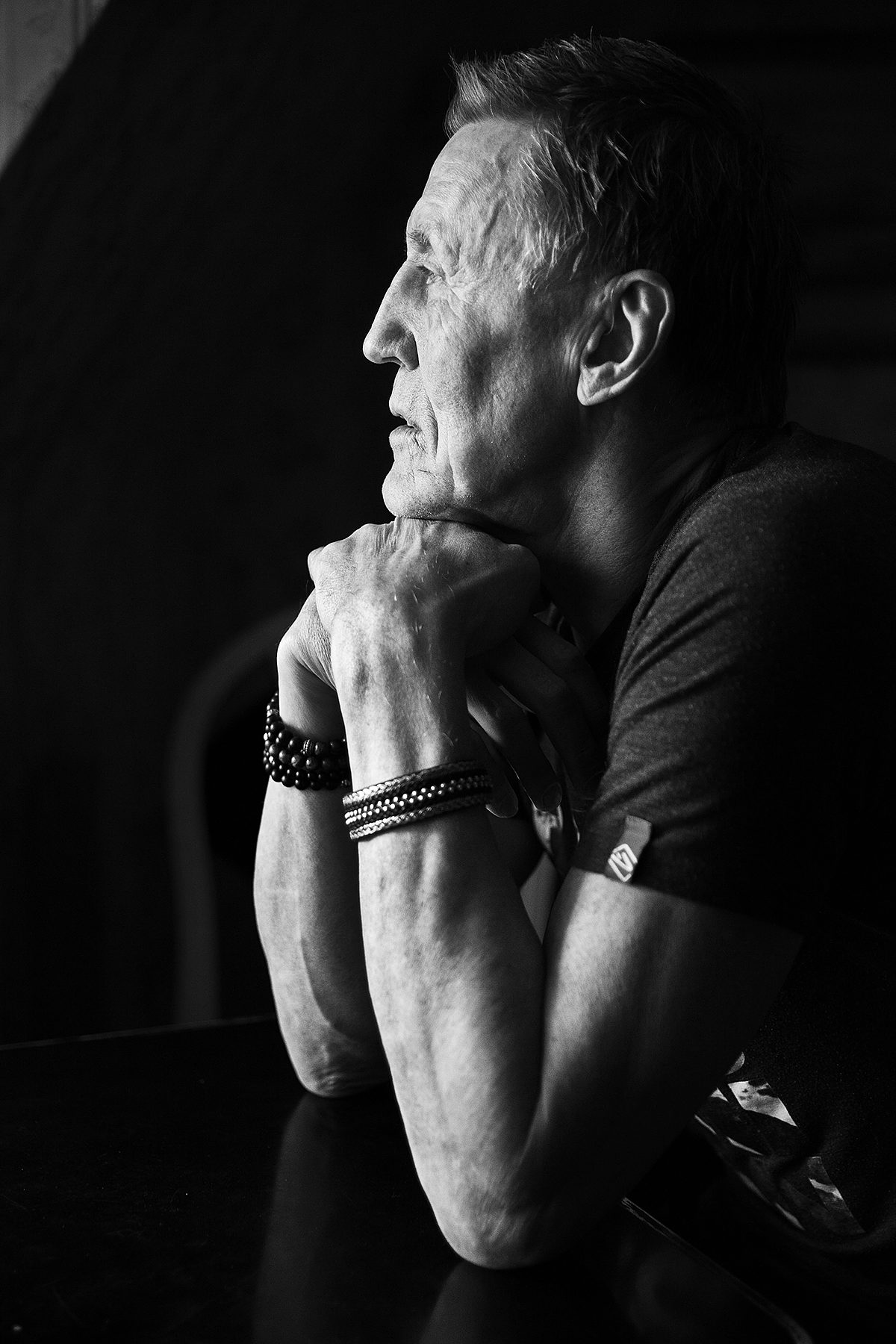 Portrait of Swedish hockey legend Börje Salming, shot in natural light using only one window